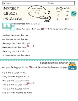 Indirect Object Pronouns - Step by Step Notes