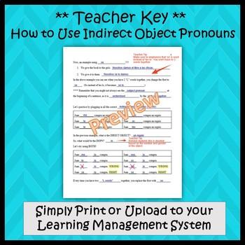 Indirect Object Pronouns in Spanish - Guided Notes and Key
