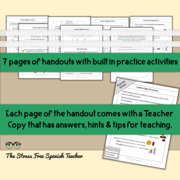 Indirect Object Pronouns in Spanish- handouts, communicative, quizzes