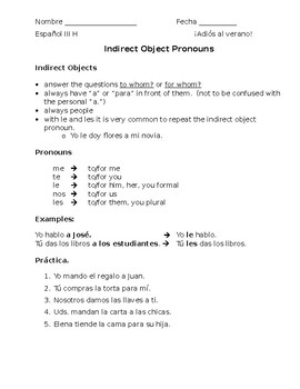 Indirect Object pronouns notes