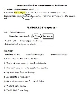 Indirect Objects - Intro & Practices