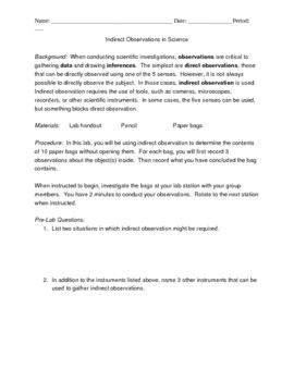 Indirect Observation Lab for Scientific Method