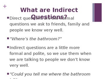 Indirect Questions + Clue Game