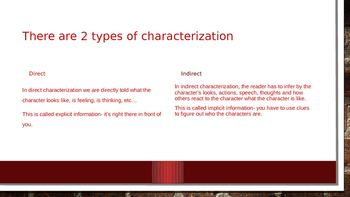 Indirect and Direct Characterization Power Point Lesson 5th - 8th grade