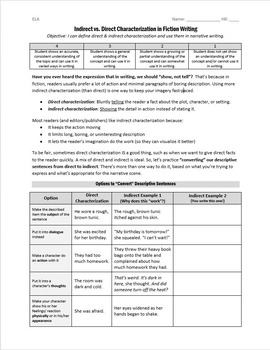 """Indirect and Direct Characterization: """"Show, Don't Tell"""" Writing Lesson"""