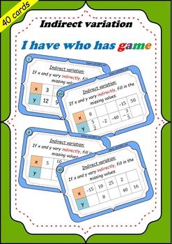 Indirect variation Indirectly proportional - Task cards game