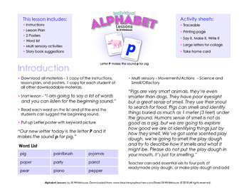 Alphabet Individual Lessons - Letter P makes the sound p