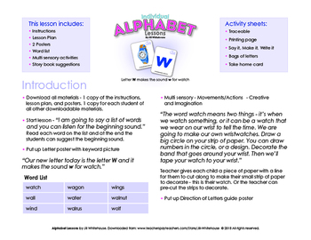 Alphabet Individual Lessons - Letter W makes the sound w