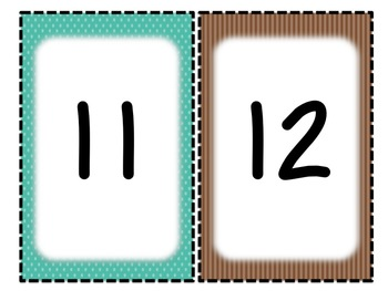Individual Alphabet and Number Signs - Brown & Teal