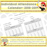 Individual Attendance Calendar for Speech Therapy: Aug 201
