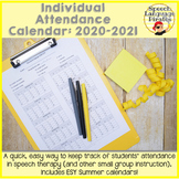 Individual Attendance Calendar for Speech Therapy: Aug 202