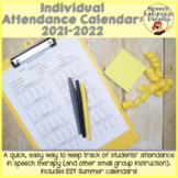 Individual Attendance Calendar for Speech Therapy-EDITABLE