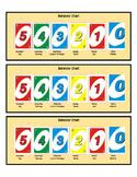 Individual Behavior Chart - Uno Game Theme