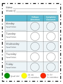 Individual Behavior Chart Weekly