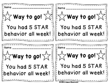 Individual Behavior Chart and Notes