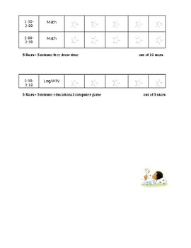 Individual Behavior Improvement Sheet (Star chart)
