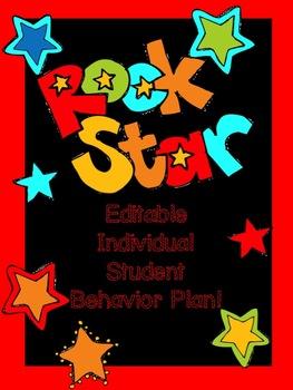 Individual Behavior Plan Rock Star theme (editable)