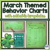Individual Behavior & Reward Charts (editable!) - March/St. Patrick's Day Themed