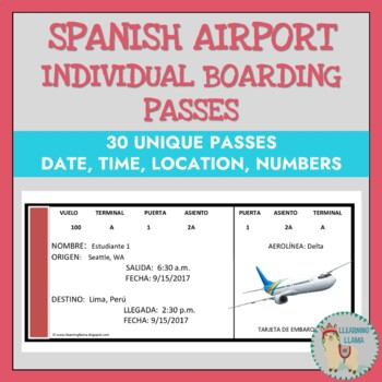 Boarding pass teaching resources teachers pay teachers individual boarding passes spanish airport unit individual boarding passes spanish airport unit fandeluxe Gallery