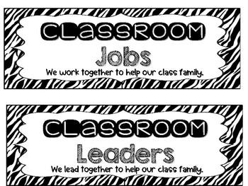 Individual Classroom Jobs {Safari Theme}