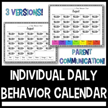 Individual Daily Behavior Calendar