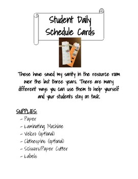 Individual Daily Schedule Cards