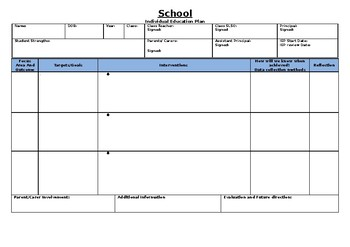 Individual Education Plan Pro Forma