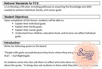 Individual, Family, & Career Goals - Child Development Lesson Plan
