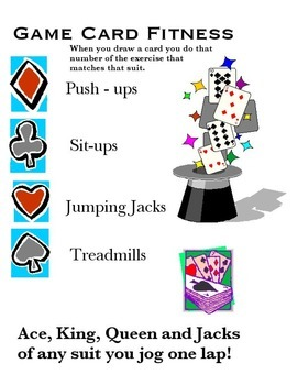 Physical Education - Individual Game Card Fitness