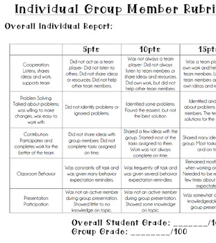 Individual Group Member Rubric