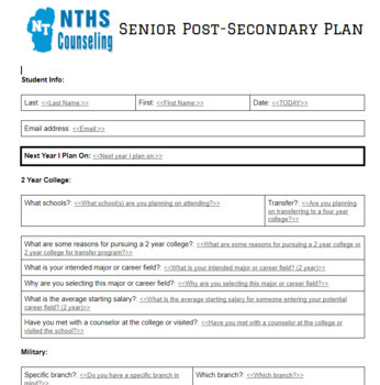 Individual Learning Plan (ILP) & Post-Secondary Plan (PSP) Forms & Autofill Docs