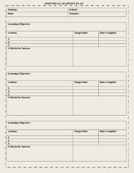 Individual Learning Plan Template by Mo Don | Teachers Pay Teachers