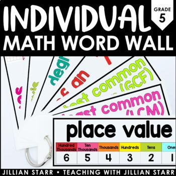Individual Math Word Wall 5th Grade   Student Math Word Wall Ring