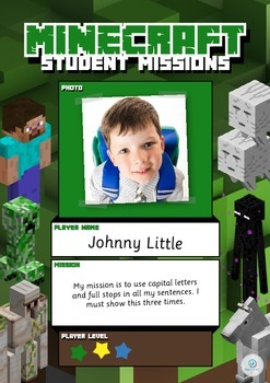 FREEBIE Minecraft Student Learning Targets/Goals for Reading and Writing Poster