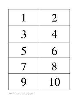 Individual Numbers by ones, twos, fives and tens