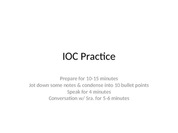 Individual Oral Commentary IOC PPT for IB International Baccalaureate Spanish