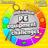 Individual PE equipment challenges - Task cards for sport