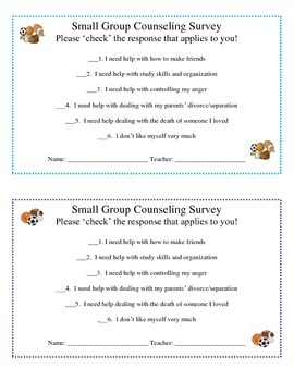 Individual & Small Group Counseling Survey