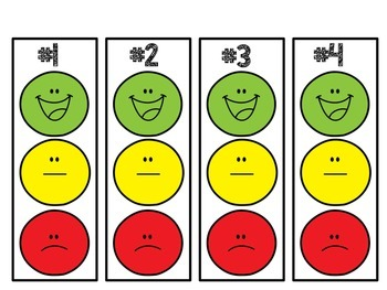 Individual smiley face behavior clip chart with editable weekly