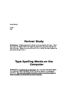 Individual Spelling Activities