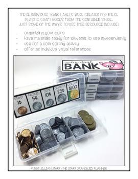 Coin Organizer: Individual Student Banks