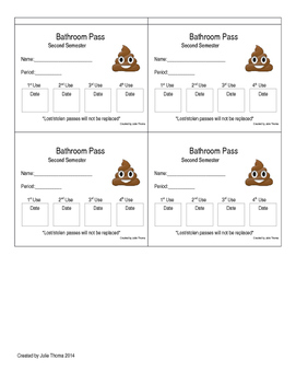 Individual Student Bathroom/ Hallway Pass