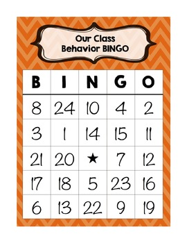 Individual Student Behavior BINGO