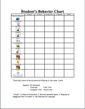 Individual student behavior chart by the bright and kind for Behavior charts for preschoolers template