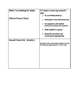 Individual Student Behavior Chart with Rewards