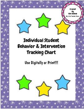 Individual Student Behavior & Intervention Tracking Chart- Classroom Management