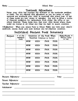 Individual Student Book Inventory and Replacement Form