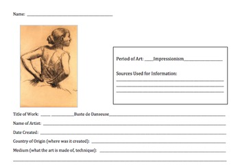 20 Individual Student Impressionism Worksheets