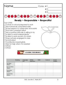 Individual Student Parent Conference Folder