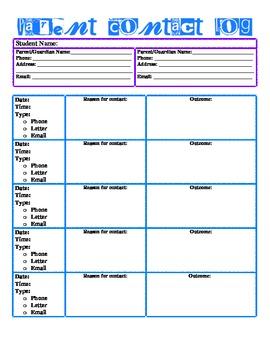 Individual Student Parent Contact Log